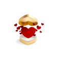 red heart open box with flying golden and red vector image vector image