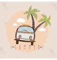retro bus with surfboard grunge design template vector image
