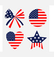 ribbon bow shape round heart star american flag vector image