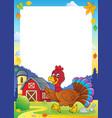 running turkey bird theme frame 1 vector image vector image