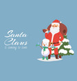 santa claus and snowman with birds cartoon vector image