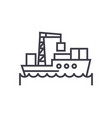 sea logistics ship concept thin line icon vector image