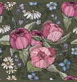 seamless pattern with hand drawn peony and vector image vector image