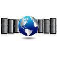 Servers with Globe vector image vector image