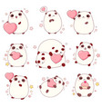 set of cute pandas in kawaii style vector image vector image