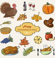 Set of Sketch doodle Thanksgiving icon Hand draw vector image vector image