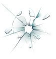 shattered window cracked glass bullet hole vector image vector image