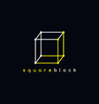 square logotype outline trace logo theme vector image vector image