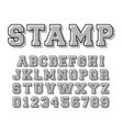 stamp alphabet font template letters and numbers vector image vector image