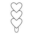 three hearts ice cream icon outline line style vector image vector image