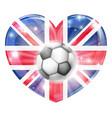 union jack soccer heart flag vector image vector image