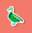wild duck paper sticker on stylish background vector image vector image
