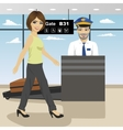 young woman passes security check control vector image
