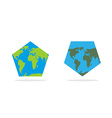 Pentagonal world map World Land and oceans on an vector image