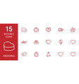 15 wedding icons vector image vector image