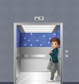 A boy inside the elevator vector image