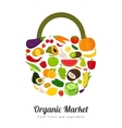 Basket with fruits and vegetables icons vector image vector image