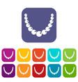 bead icons set flat vector image vector image
