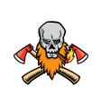 bearded skull crossed axe cigar mascot vector image