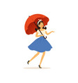 beautiful young woman walking with red umbrella vector image vector image