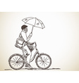 bicyclist with umbrella vector image vector image