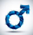 Blue male sign geometric icon made in 3d modern vector image