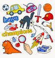 boys doodle with toys and funny elements vector image