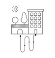 building park with trees and sun sign way sign vector image