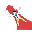 businessman falling on red arrow vector image vector image
