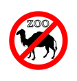 Camel in zoo prohibited vector image vector image