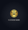 cannabis leaf round logo vector image