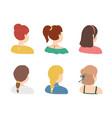cartoon color various haircuts ladies icons set vector image vector image