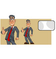 cartoon man in a suit with a tie showing thumbs up vector image vector image