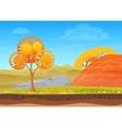 cartoon nature autumn landscape in sun day vector image vector image