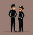 cartoon woman and man at police job or work vector image vector image