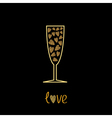 Champagne glass with hearts inside Gold sparkles vector image