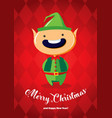 christmas card with a christmas elf vector image vector image