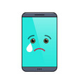 crying mobile phone isolated emoticon vector image vector image