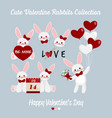 cute valentine rabbits collection vector image