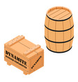 danger explosives dynamite wooden box and barrel vector image vector image