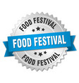 food festival round isolated silver badge vector image vector image