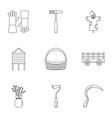 garden icon set outline style vector image vector image