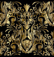 gold damask seamless pattern floral vector image vector image