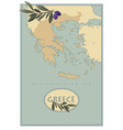greece map with olives branches and olive leaves vector image vector image