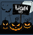 halloween party blue poster vector image vector image