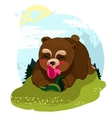 Happy Teddy Bear smelling a flower vector image vector image