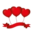 hearts love flying ribbon design vector image
