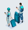 isometric young girl and man at the airport vector image vector image