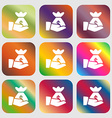 money in hand icon sign Nine buttons with bright vector image