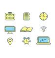 Outline office icons set design elements vector image